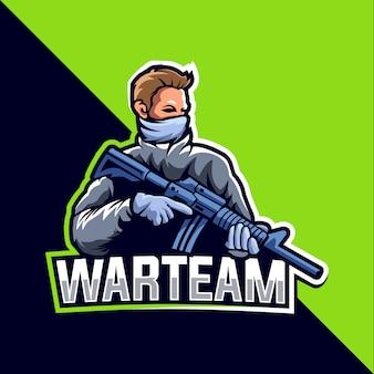 Diseño de logotipo de esport de mascota de equipo de guerra
