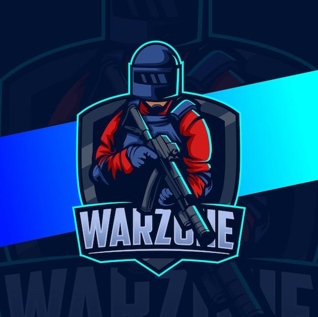 Diseño de logotipo de esport de mascota de escuadrón de guerra