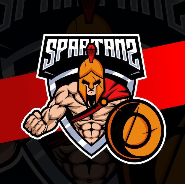 Diseño de logotipo de esport mascota espartana