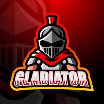 Diseño de logotipo de esport de mascota de gladiador