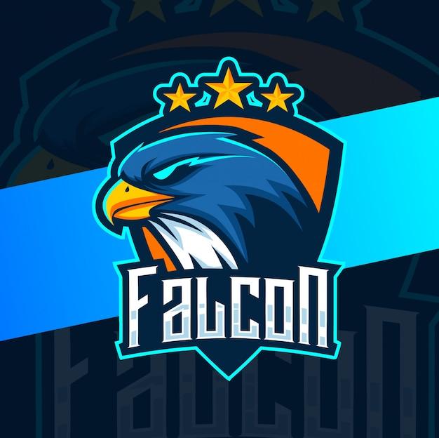 Diseño de logotipo de esport mascota de halcón