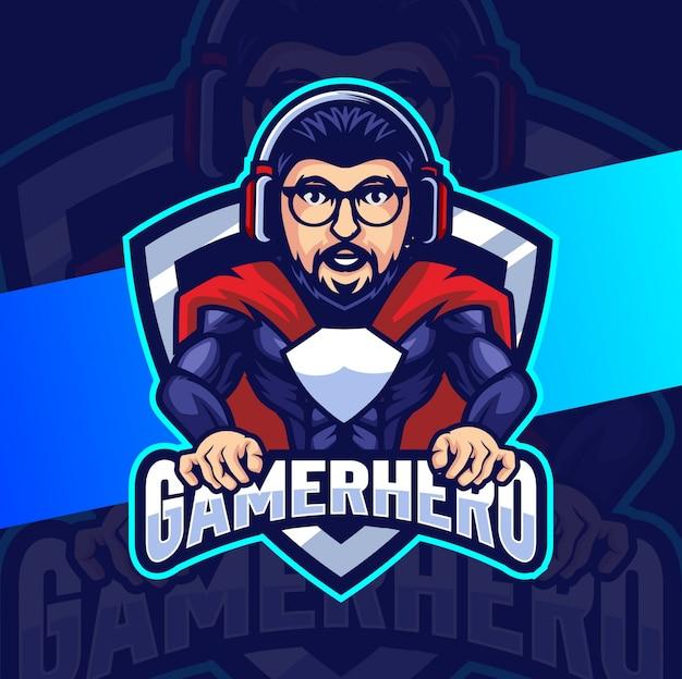 Diseño de logotipo de esport de mascota de héroe de jugador