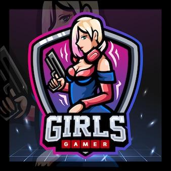 Diseño de logotipo de esport de mascota de jugador de niñas