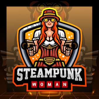 Diseño de logotipo de esport de mascota de mujer steampunk