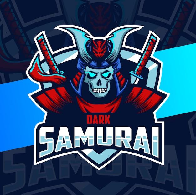 Diseño de logotipo de esport mascota oscura samurai