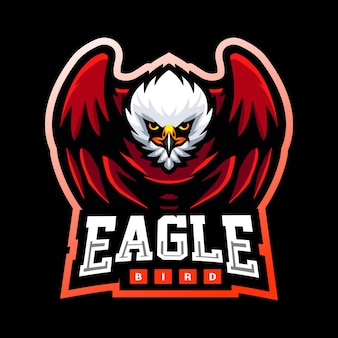 Diseño de logotipo de esport de mascota de pájaro águila