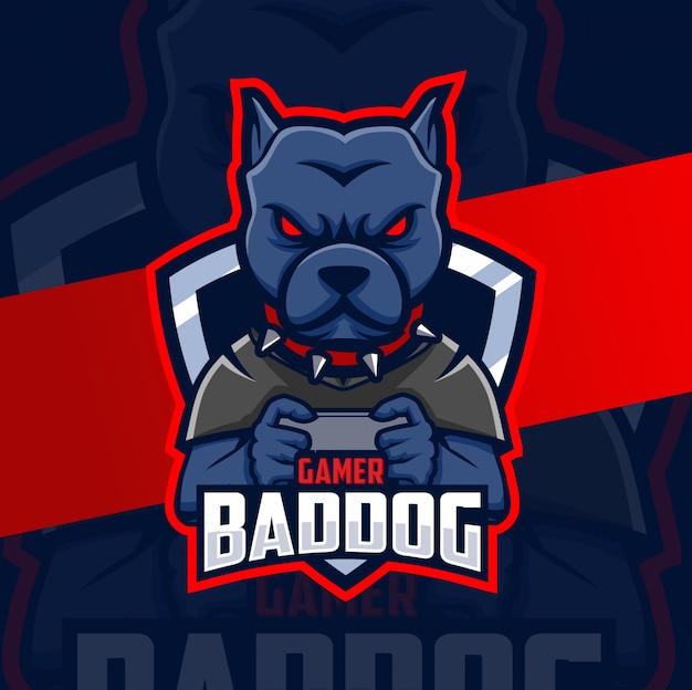 Diseño de logotipo esport mascota perro jugador