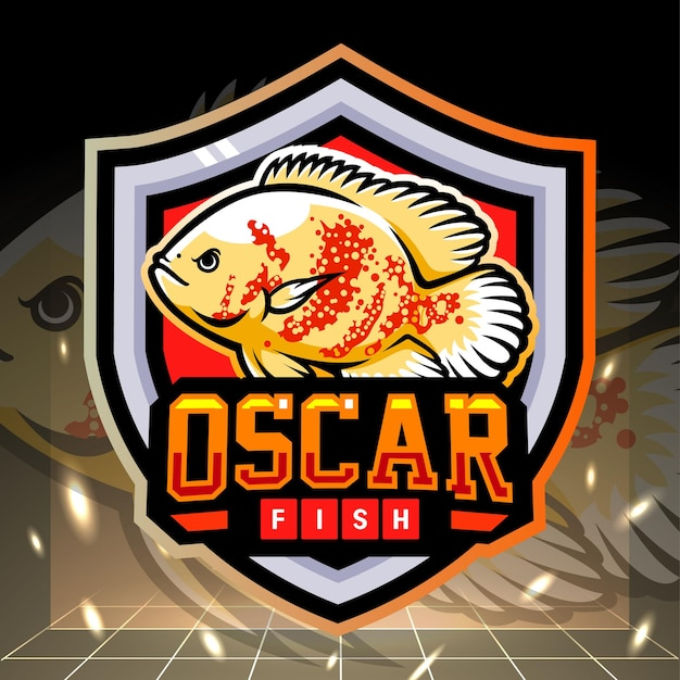 Diseño de logotipo de esport de mascota de pez oscar blanco