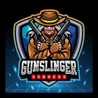 Diseño de logotipo de esport de mascota de pistolero