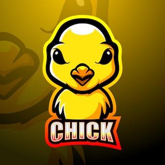 Diseño de logotipo de esport de mascota de pollitos