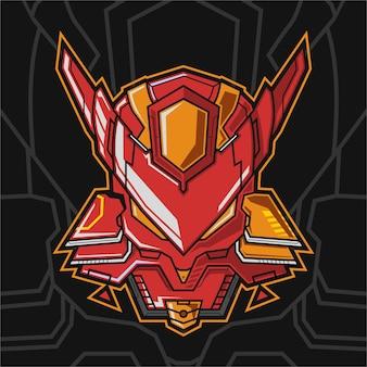 Diseño de logotipo de esport de mascota de robot de cabeza de zorro