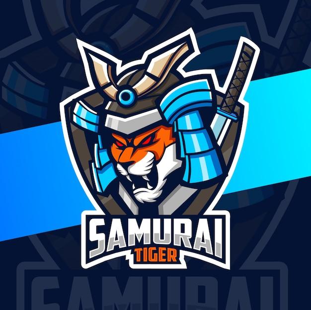 Diseño del logotipo del esport de la mascota del samurai del tigre