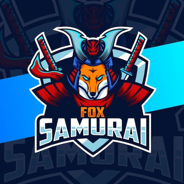 Diseño de logotipo de esport de mascota de samurai de zorro