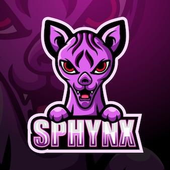 Diseño de logotipo de esport de mascota sphynx