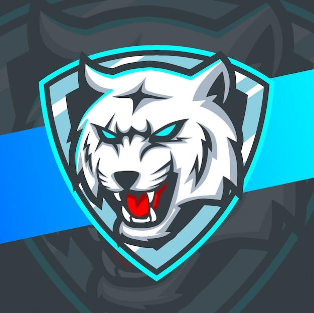 Diseño de logotipo de esport de mascota de tigre blanco