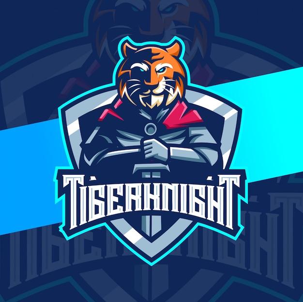 Diseño de logotipo de esport de mascota de tigre caballero