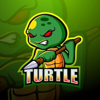 Diseño de logotipo de esport de mascota de tortuga