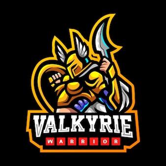 Diseño de logotipo de esport de la mascota de valkyrie