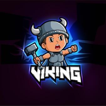 Diseño de logotipo de esport de mascota vikinga