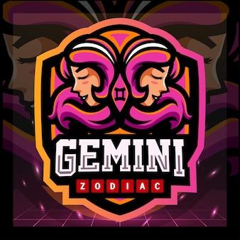 Diseño de logotipo de esport de la mascota del zodiaco géminis