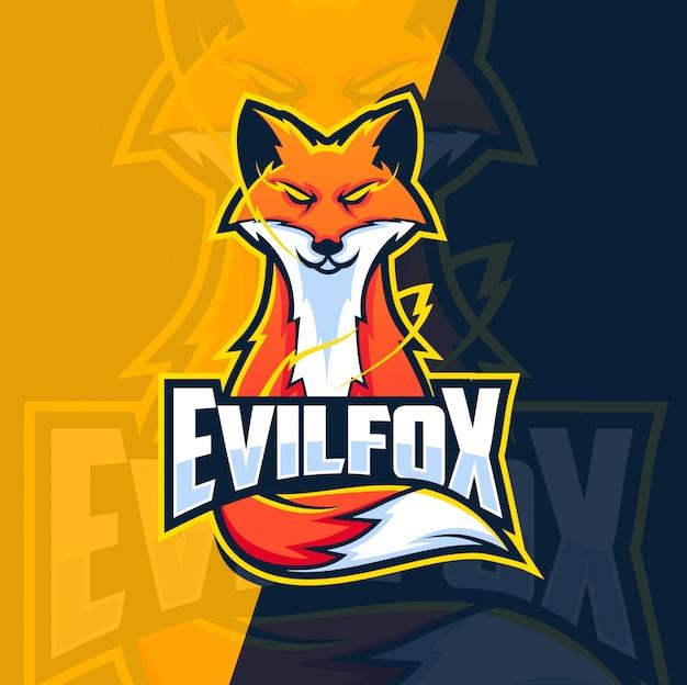 Diseño de logotipo de esport de mascota de zorro malvado