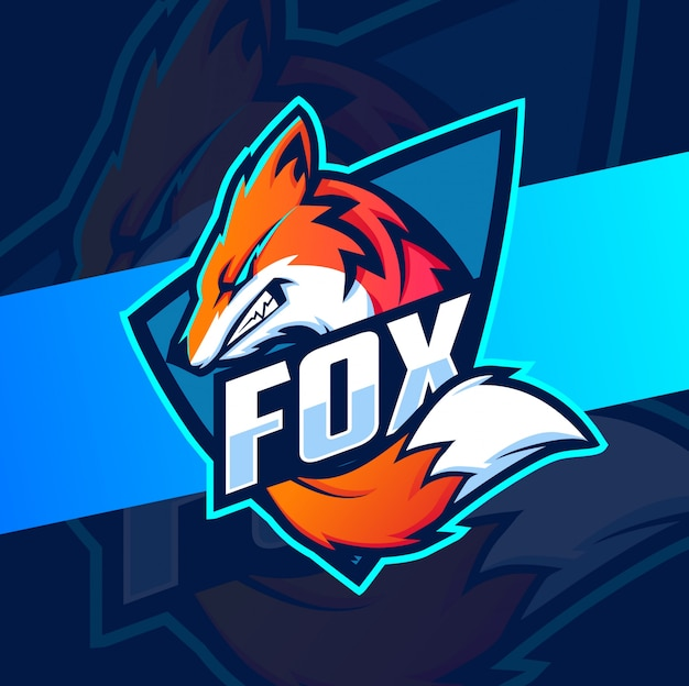 Diseño de logotipo de esport mascota de zorro