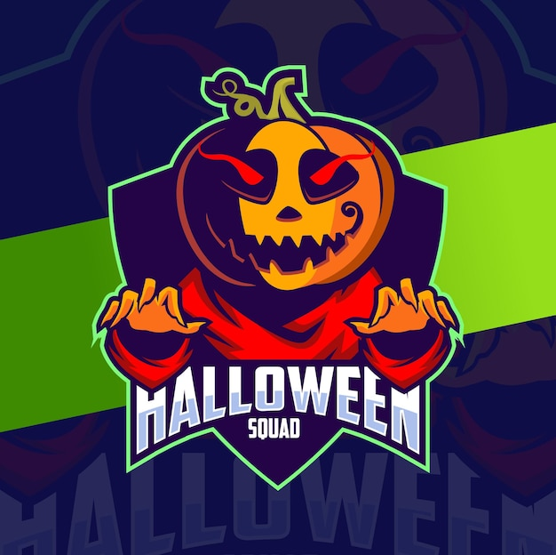 Diseño de logotipo de esport de personaje de mascota de halloween de calabaza para celebración de halloween y logotipo de juego