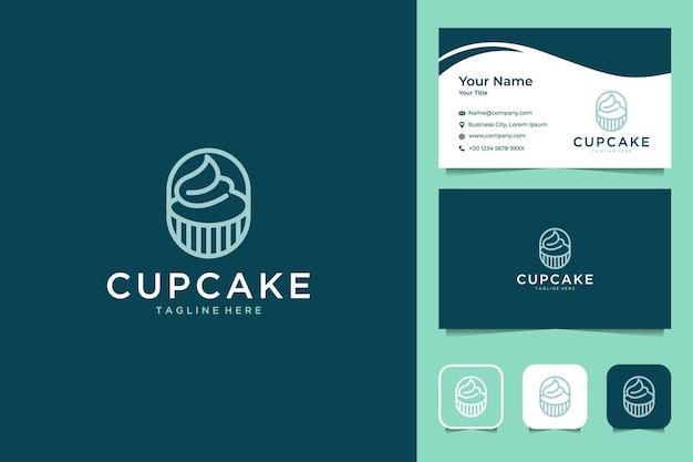 Diseño de logotipo de estilo de arte de línea de cupcake y tarjeta de visita