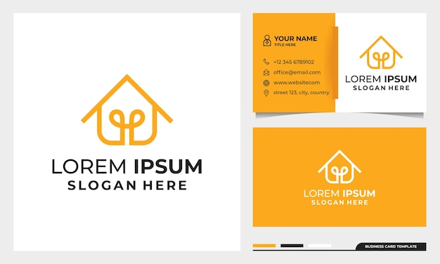 Diseño de logotipo de estilo de arte de línea de hogar inteligente con plantilla de tarjeta de visita