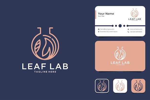 Diseño de logotipo de estilo de arte de línea de laboratorio de hoja y tarjeta de visita