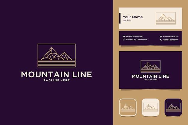 Diseño de logotipo de estilo de arte de línea de montaña y tarjeta de visita.
