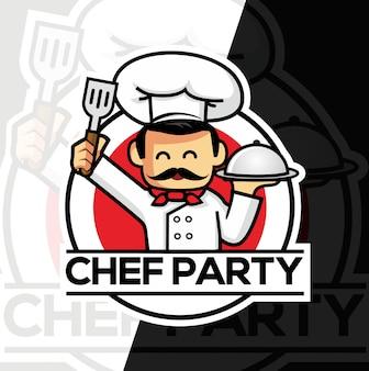 Diseño de logotipo de estilo de deporte de mascota de chef