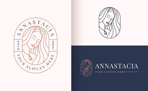 Diseño de logotipo de estilo lineal de potrait de mujer
