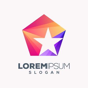 Diseño de logotipo estrella colorida abstracta
