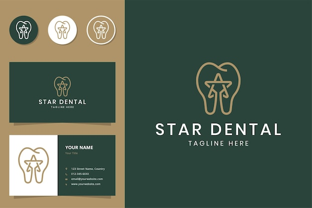 Diseño de logotipo de estrella y línea dental.
