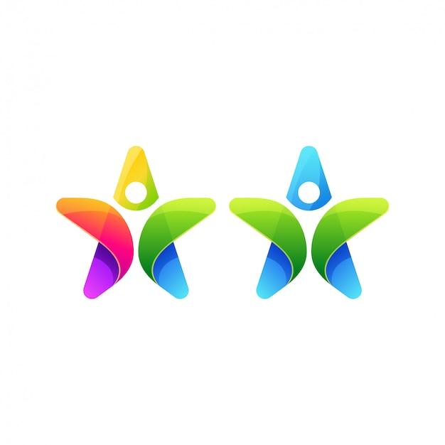 Diseño de logotipo estrella de personas