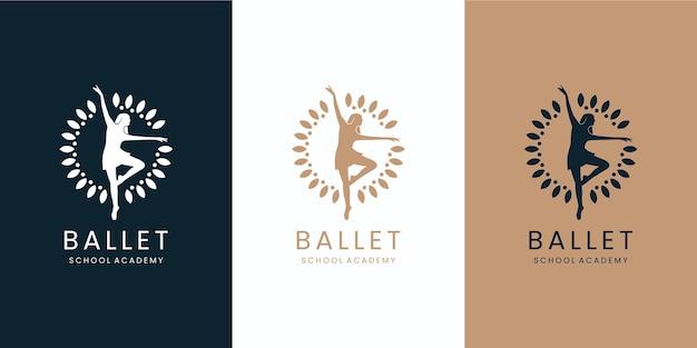 Diseño de logotipo de estudio de academia de escuela de ballet