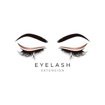 Diseño de logotipo de extensión de pestañas de belleza de lujo