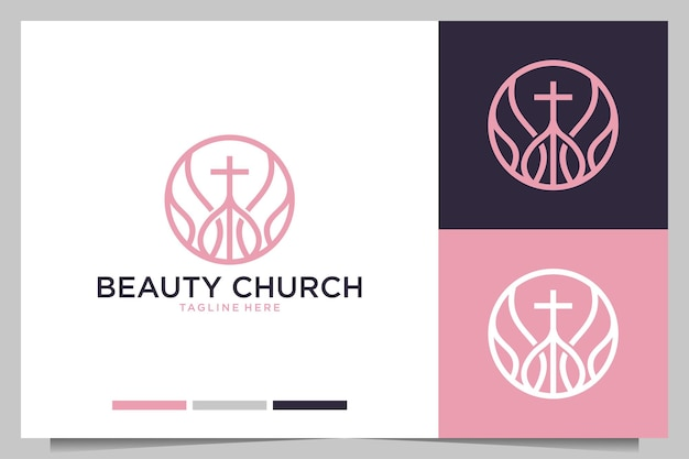 Diseño de logotipo femenino de arte de línea de iglesia de belleza
