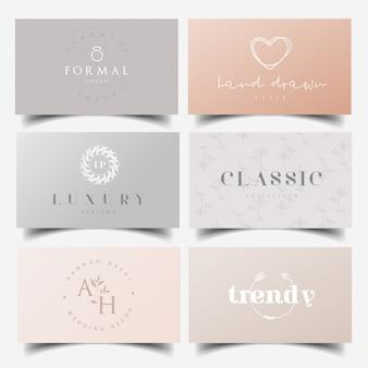Diseño de logotipo femenino editable y plantillas de tarjetas de visita.