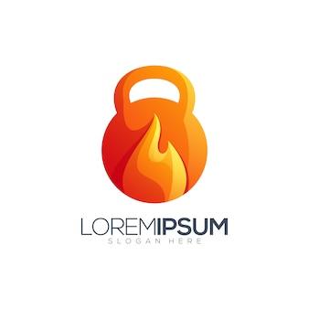 Diseño de logotipo de fitness de fuego