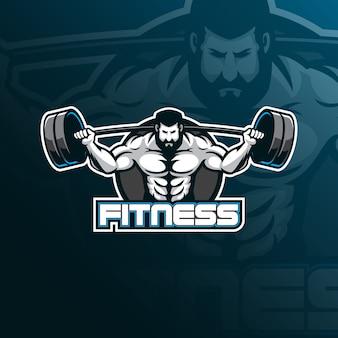 Diseño del logotipo de fitnessmascot con un estilo de ilustración moderno para la impresión de insignias, emblemas y camisetas.