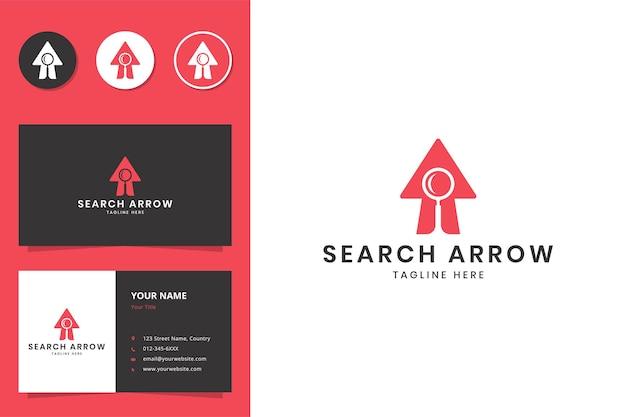 Diseño de logotipo de flecha de búsqueda espacio negativo