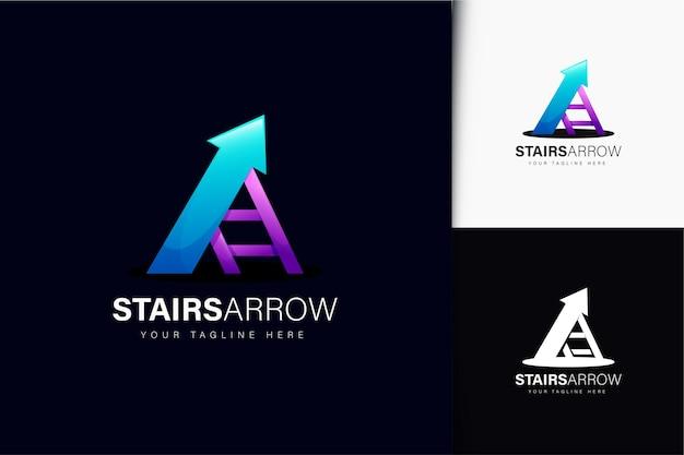 Diseño de logotipo de flecha de escaleras con degradado