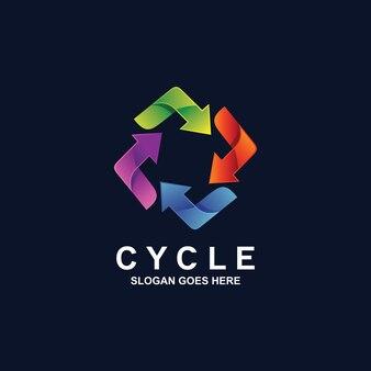 Diseño de logotipo de flechas de ciclo