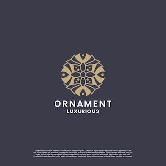 Diseño de logotipo de flor de adorno de lujo. diseño de logotipo de mandala de belleza para marcas y etiquetas de empresa.