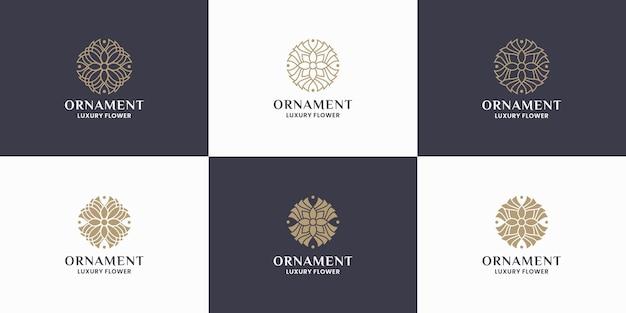 Diseño de logotipo de flor de adorno de paquete. mandala, concepto de monograma