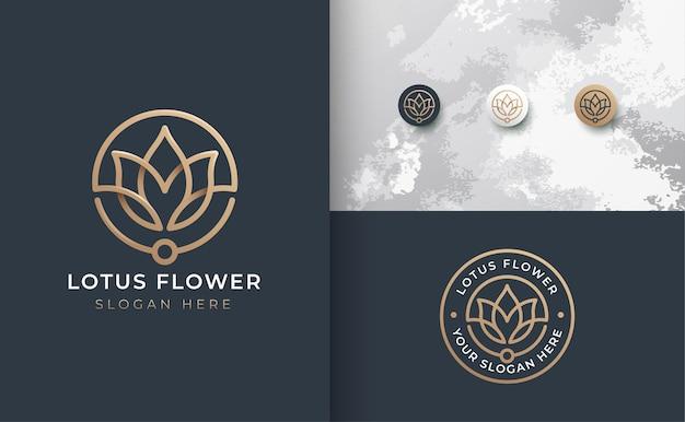Diseño de logotipo de flor de arte de línea de lujo
