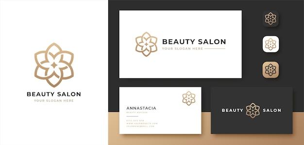 Diseño de logotipo de flor de arte lineal