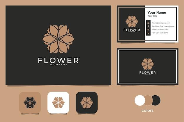 Diseño de logotipo de flor de belleza y tarjeta de visita.